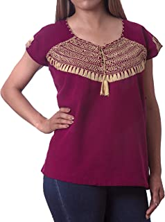 Mexican Blouse Embroidered Floral Artisans Handmade Top Peasant Cotton Boho Mexico Summer Shirt Short Sleeve
