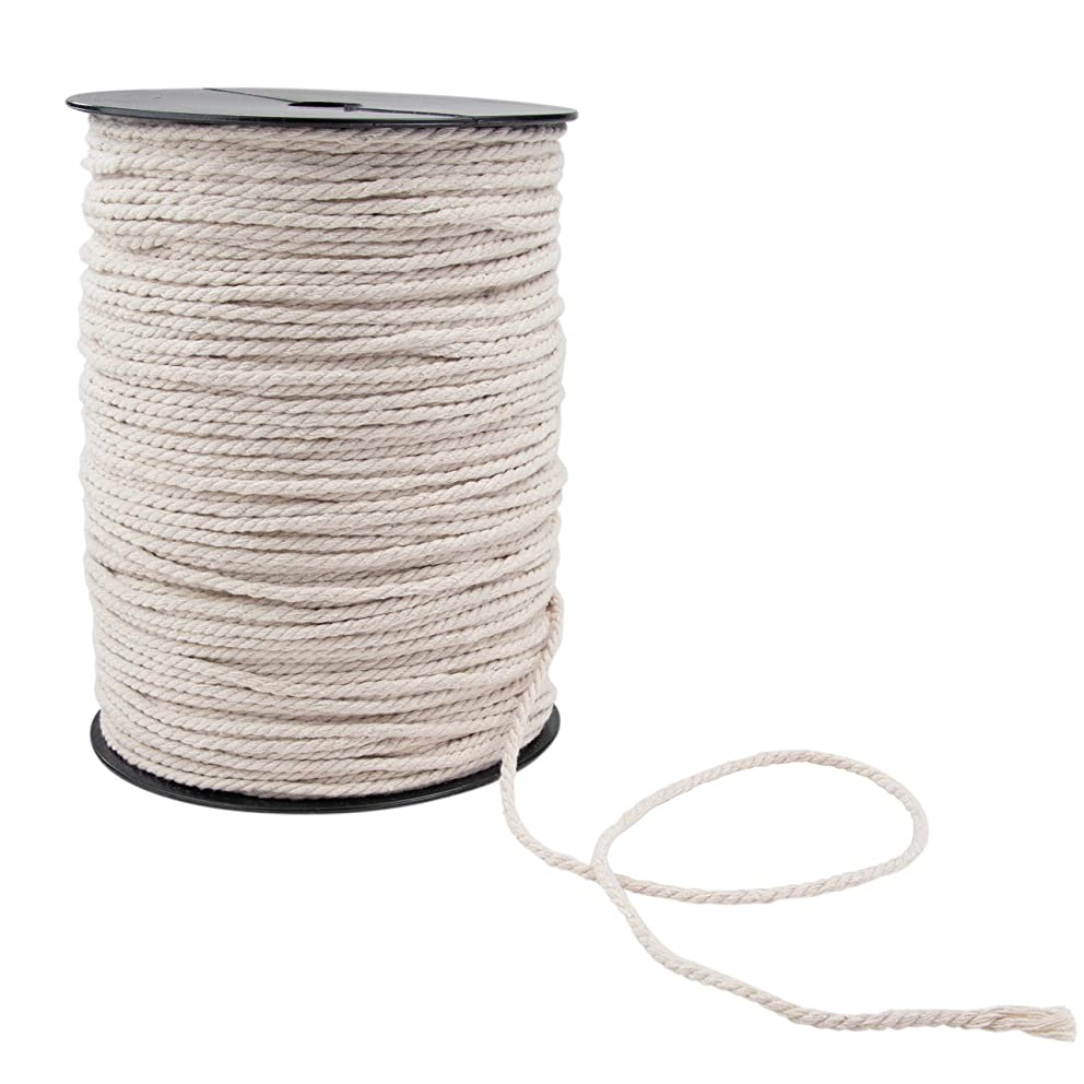 3mm Natural Cotton Macrame Cord Rope, 3mm x 200m (About 218 Yards)