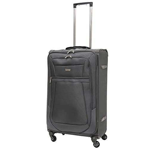 "Aerolite Reinforced Super Strong and Light 4 Wheel Lightweight Hold Check in Luggage Suitcase, 26"" (Medium, Grey)"