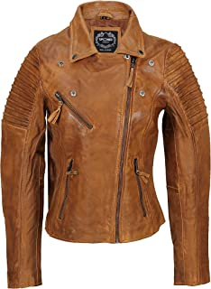 Xposed Womens Vintage Slim Fitted Soft Real Leather Ladies Biker Jacket UK Size 6 – 24