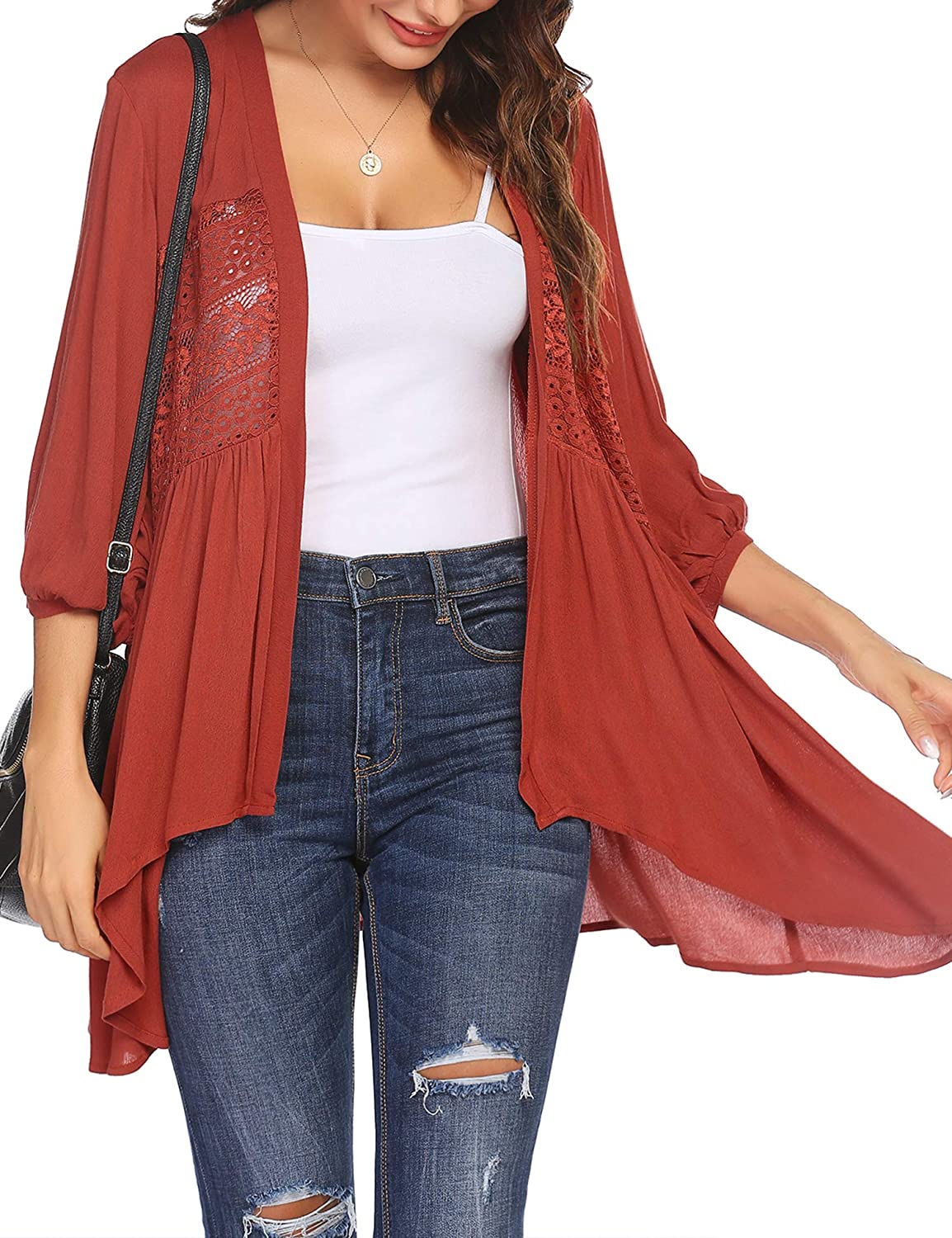 Hotouch Womens Cardigan Open Front 3//4 Sleeve Lace Lightweight Beach Summer Cover Up Tops