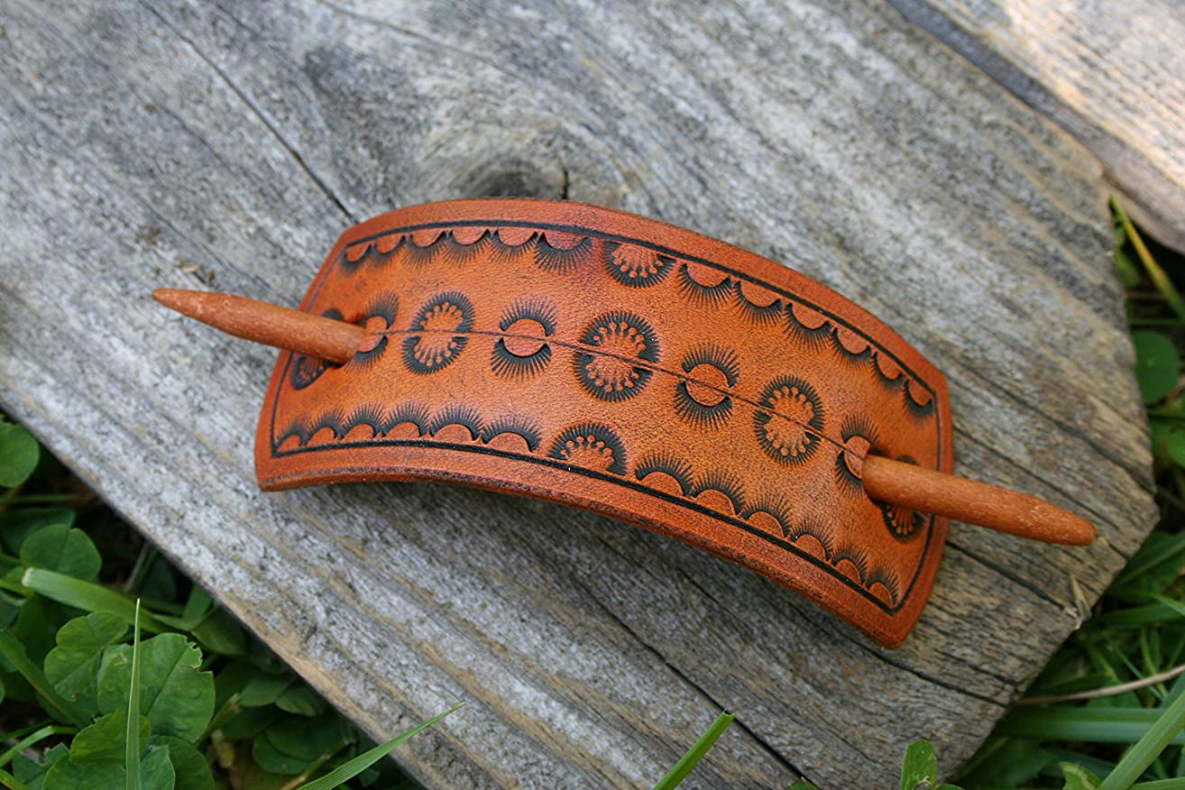 Leather Hair Pin - Hair Tie Leather - With Wood Slide Stick - Rectangular Hair Barrette - Handmade In The USA
