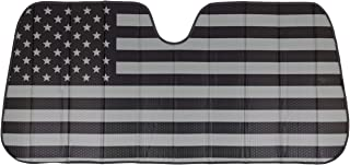 BDK Patriotic Monochrome USA Flag Front Windshield Sunshade-Accordion Folding Auto Shade for Car Truck SUV-Blocks UV Rays ...