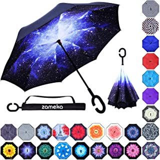 Zameka Double Layer Inverted Umbrellas Reverse Folding Umbrella Windproof UV Protection Big Straight Umbrella Inside Out Upside Down Car Rain Outdoor C-Shaped Handle