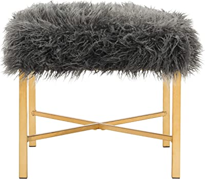 Safavieh Home Collection Horace Grey Faux Sheepskin and Gold Foil Square Bench