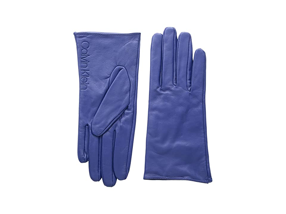 Calvin Klein Leather/Suede Gloves w/ Debossed Logo (Night Owl) Extreme Cold Weather Gloves