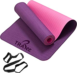 "Trabee Yoga Mat - Eco Friendly TPE Material, Reversible and Non Slip Excercise & Fitness Mat (72""x 24""x 1/4"" Thickness) fo..."