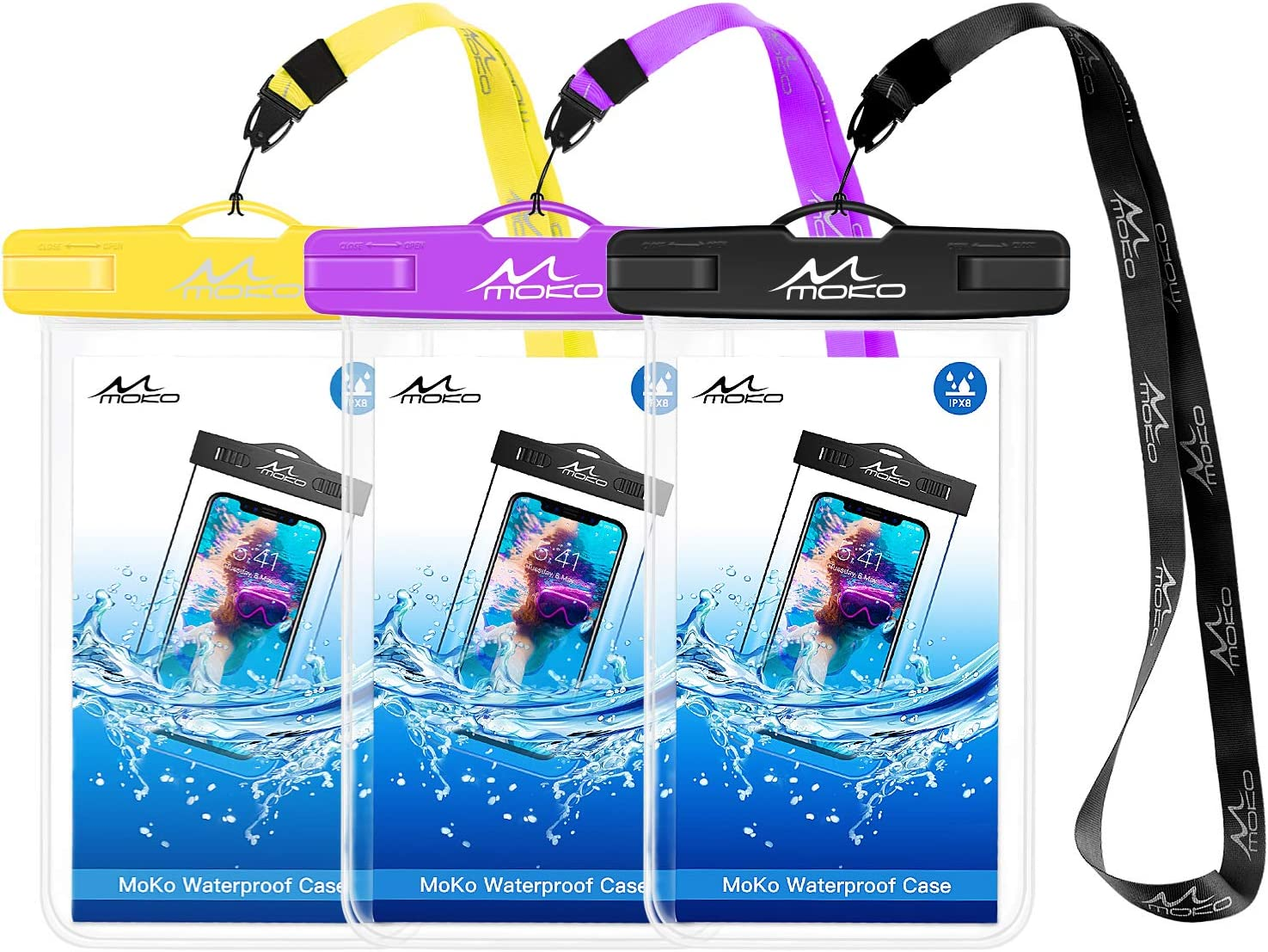 MoKo Waterproof Phone Pouch [3 Pack], Underwater Phone Case Dry Bag with Lanyard Compatible with iPhone 13/13 Pro Max/iPhone 12/12 Pro Max/11 Pro Max, X/Xr/Xs Max, 8/7, Galaxy S21/S10/S9, Note 10/9/8