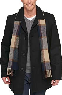 Tommy Hilfiger Men's Size Tall Wool Melton Walking Coat with Detachable Scarf
