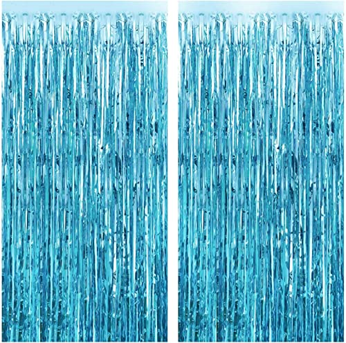 FECEDY 2pcs 3ft x 8.3ft Light Blue Metallic Tinsel Foil Fringe Curtains Photo Booth Props for Birthday Wedding Engage...