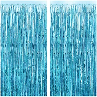 FECEDY 2pcs 3ft x 8.3ft Light Blue Metallic Tinsel Foil Fringe Curtains Photo Booth Props for Birthday Wedding Engagement ...