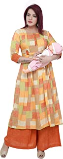 Dummy Shape High Quality Printed Cotton Rayon Maternity & Feeding Casual & Daily Wear Kurti and Palazzo Set Salwar Suit Dress for ladies and Girls.