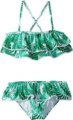 Pom Trim Ruffle Two-Piece Bikini (Toddler/Little Kids/Big Kids)