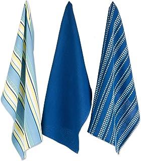 J & M Home Fashions Absorbent Durable Kitchen Dish Towel, 18x28, Blue