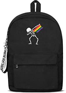 Gay Pride Lgbt Skull Rainbow Dabbing Skeleton Laptop Backpack Casual Style Packable Canvas Rucksack Travel for Men Women and Kids