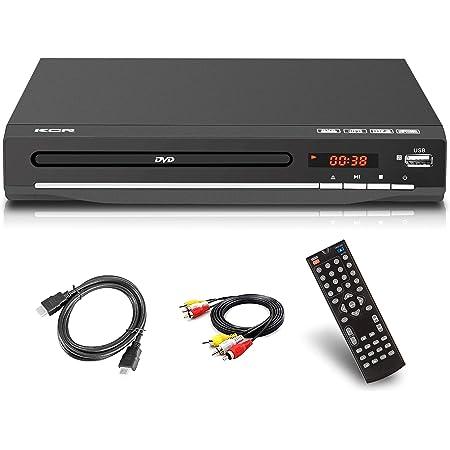 Lettore DVD per TV, DVD / CD / MP3 / MP4 con presa USB, uscita HDMI e AV (cavo HDMI e AV incluso), telecomando Colore nero, per tutte le regioni (non legge Blu-ray)