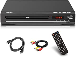 Reproductor de DVD para TV, DVD / CD / MP3 / MP4 con toma USB, salida HDMI y AV (cable HDMI y AV incluido), mando a distancia (no Blu-ray), color negro, para todas las regiones