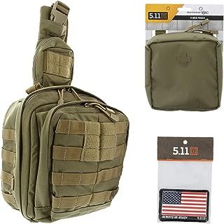 5.11 Rush Moab 6 Tactical Sling Pack Med First Aid Patriot Bundle - Sandstone