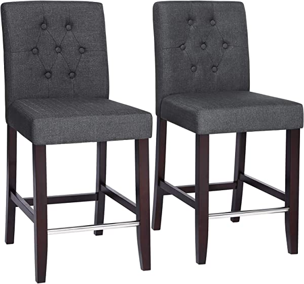 SONGMICS Set Of 2 Bar Stools Kitchen Breakfast Chairs With Button Tufted Backrest Linen Style Fabric Solid Wood Legs With Footrest Dark Gray ULDC34GY