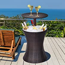 Happygrill Outdoor Cool Bar Rattan Patio Cool Bar Table Adjustable Height Cocktail Coffee Table
