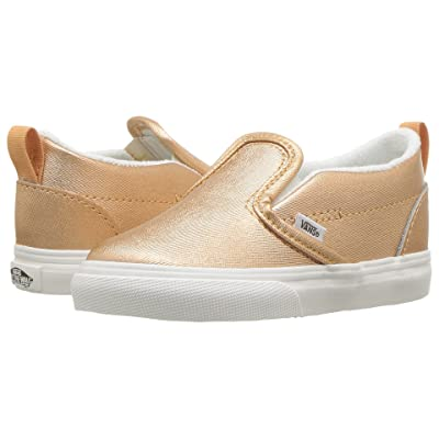 Vans Kids Slip-On V (Infant/Toddler) ((Metallic Leather) Light Copper) Girls Shoes