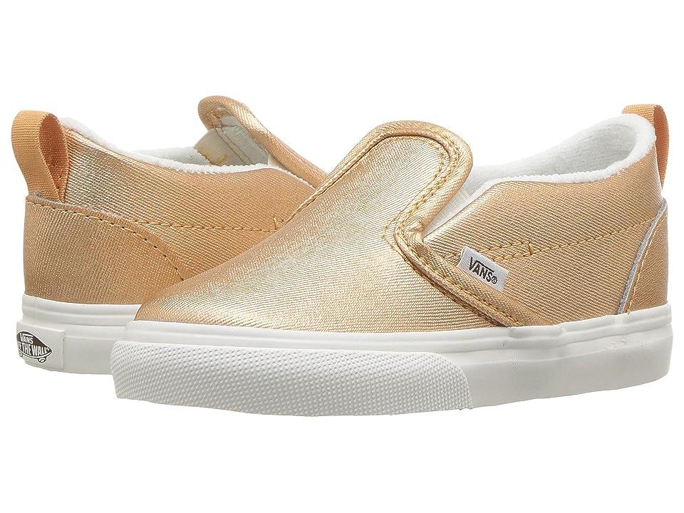 Vans Kids Slip-On V (Infant/Toddler) ((Metallic Leather) Light Copper) Girls Shoes