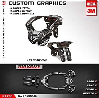 Kungfu Graphics Neck Brace Stickers Decals for Leatt GPX 6.5 SIX.FIVE, Size: Small/Medium, Black Grey