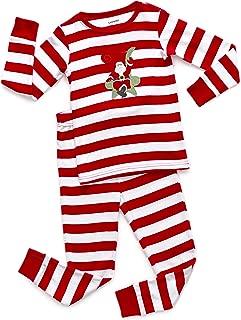 Kids Christmas Pajamas Boys Girls & Toddler Pajamas Red White Green 2 Piece Pjs Set 100% Cotton (12 Months-14 Years)