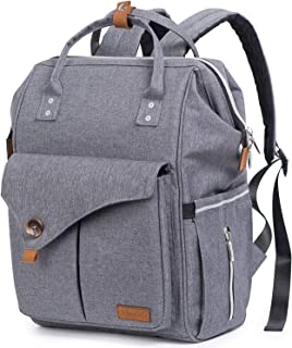 Baby Diaper Bag Backpack for Travel, Large Capacity Multi-Function Water-Resistant Nappy Bag for Mom and Dad with Changing Pad, Stroller Straps, Waterproof Pocket, Grey