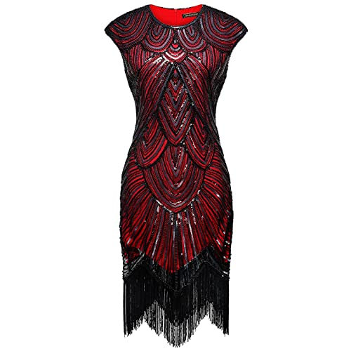 7762869e2f1 Izacu Flocc Women 1920s Art Deco Sequin Paisley Flapper Tassel Glam Party  Dress