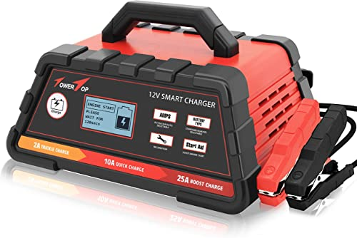 2021 2/10/25A online sale 12V Smart high quality Battery Charger/Maintainer Fully Automatic with Engine Start, Cable Clamps outlet sale