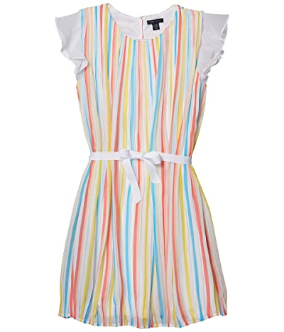 Tommy Hilfiger Kids Pleated Stripe Dress (Big Kids) (White) Girl
