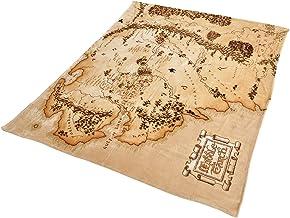 Elbenwald Władca Pierścieni koc flauszowy z mapą średniej ziemi motyw w formacie XXL 180 x 220 cm beżowy