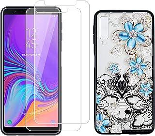 comprar comparacion YKTO Cristal Templado + Funda para Samsung Galaxy A7 2018 6.0 Pulgadas Fina 3D Moda Dibujos Antigolpes Caso 2 Piezas HD ...