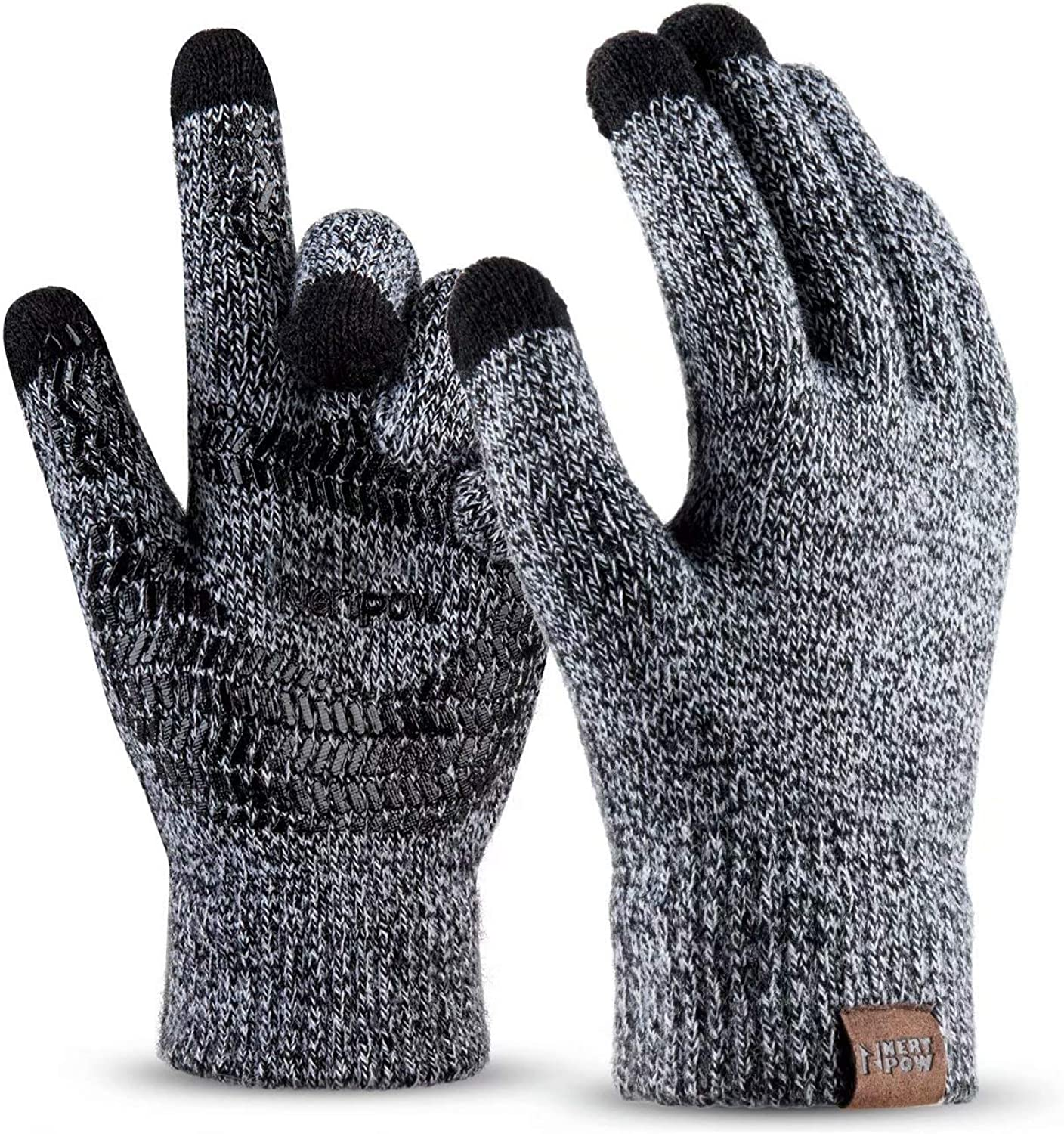 Winter Knit Gloves For Men And Women, Touch Screen Texting Soft Warm Thermal Fleece Lining Gloves With Anti-Slip Silicone Gel (Black&White-L)