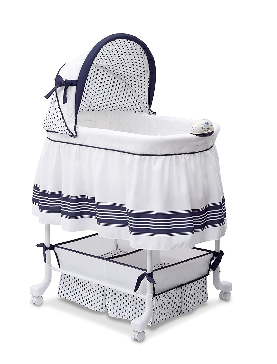 Delta Children Smooth Glide Bedside Bassinet - Portable Crib with Lights, Sounds and Vibrations, Marina