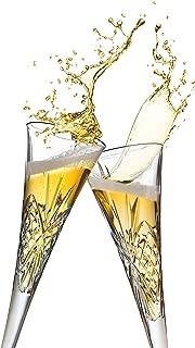 Godinger Dublin European Made Crystal Champagne Flutes, Set of 2 Glasses, 6-Ounce
