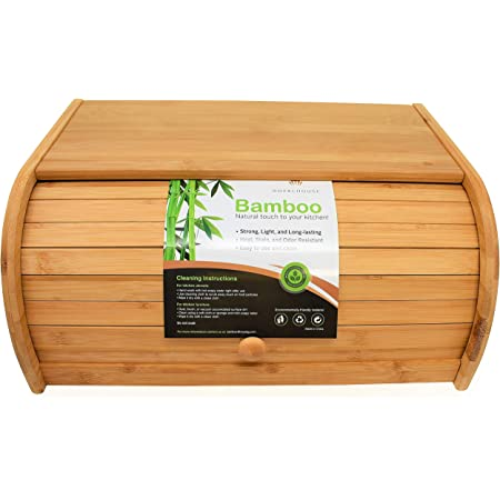 RoyalHouse Natural Bamboo Roll Top Bread Box Kitchen Food Storage - Assembly Required