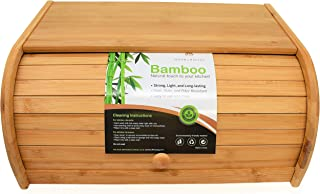 Natural Bamboo Roll Top Bread Box Kitchen Food Storage - Assembly Required