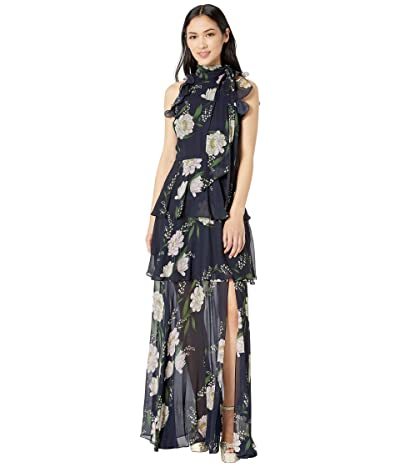ML Monique Lhuillier Sleeveless Floral Print Gown (Navy Multi) Women