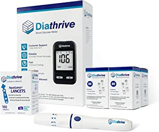 Diathrive Blood Glucose Monitoring Kit – Diathrive Blood Glucose Meter, 200 Blood Test Strips, 1 Lancing Device, 30 Gauge Lancets-100 Count, Control Solution, Logbook, and Carrying Case