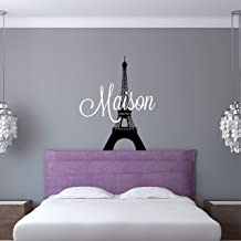 Custom Name Paris Wall Decal - Girls Personalized Name Eiffel Tower Wall Sticker - Custom Name Sign - Custom Name Stencil Monogram - Girls Room Wall Decor