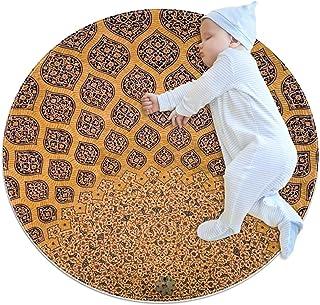 Målningskonst, barn rund matta polyester soffområde matta mjuk pedagogisk tvättbar matta barnkammare tipi tält lekmatta