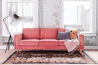 Edloe Finch Mid-Century Modern Pink Velvet Sofa, Blush