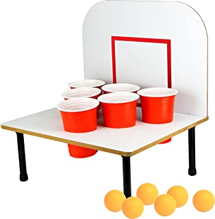 Barbuzzo Bank Shots - Beer Pong Drinking Game with a Back Board - Epic Gift for Home Entertaining, Kickbacks, Parties, Tailgates, and Get Togethers - Includes 6 Red Solo Cups and 6 Balls