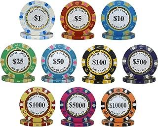 1000pcs 14g Monte Carlo Poker Club Poker Chips Bulk - Choose Denomination