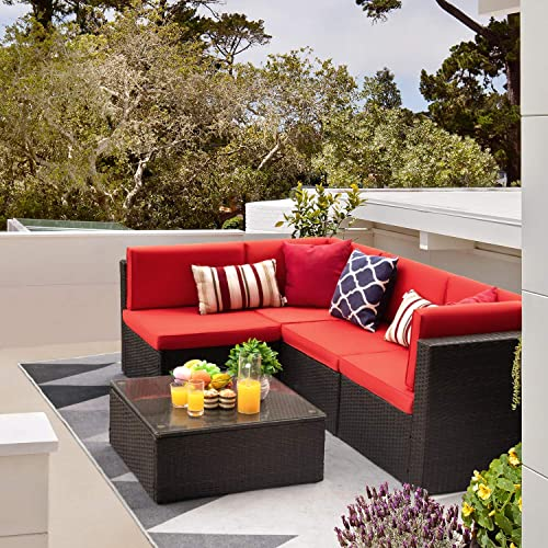 wholesale Flamaker 5 discount Pieces Patio lowest Furniture Set Outdoor Sectional Sofa Patio Sofa Set Conversation Set with Cushion and Table outlet online sale