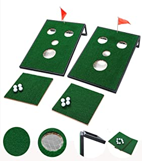 UKASE Golf Chipping Mat with Cornhole Set Games for Indoor and Outdoor Tailgate Size 2x3 Feet
