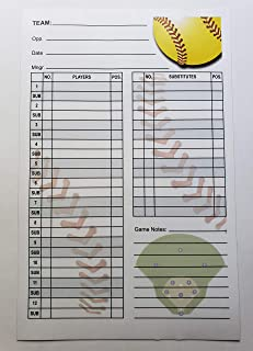 20 Softball Lineup Cards with Clipboard, 4 Part Carbonless
