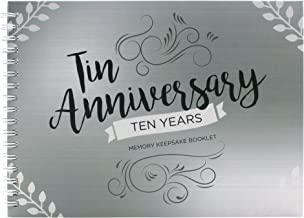 Unique 10th Wedding Anniversary Memory Book with Stickers and A Matching Card - Memory Journal For Your Special Tin Anniversary - Great Keepsake Booklet for Couple Memories - Cute Gift for Him & Her.